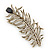 Large Vintage Inspired 'Peacock Feather' Brooch In Antique Gold Metal (Deep Purple/ Clear) - 90mm Length