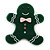 Dark Green Austrian Crystal Acrylic 'Gingerbread Man' Brooch - 45mm Length