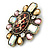 Vintage Inspired Oval AB Glass Stone & Animal Print Corsage Brooch In Antique Gold Tone - 65mm Length - view 2