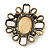 Vintage Inspired Oval AB Glass Stone & Animal Print Corsage Brooch In Antique Gold Tone - 65mm Length - view 5