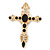 Large Black Glass, Clear Crystal 'Cross' Brooch In Gold Plating - 95mm Length