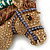 Large Multicoloured Austrian Crystal Circus Horse Head Brooch/ Pendant In Antique Gold Tone - 70mm Across - view 2