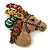 Large Multicoloured Austrian Crystal Circus Horse Head Brooch/ Pendant In Antique Gold Tone - 70mm Across - view 9