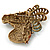 Large Multicoloured Austrian Crystal Circus Horse Head Brooch/ Pendant In Antique Gold Tone - 70mm Across - view 6