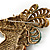 Large Multicoloured Austrian Crystal Circus Horse Head Brooch/ Pendant In Antique Gold Tone - 70mm Across - view 7