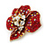 Red, AB, Clear Austrian Crystal Poppy Flower Brooch/ Pendant In Gold Plated Metal - 35mm - view 2