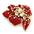 Red, AB, Clear Austrian Crystal Poppy Flower Brooch/ Pendant In Gold Plated Metal - 35mm - view 3