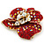 Red, AB, Clear Austrian Crystal Poppy Flower Brooch/ Pendant In Gold Plated Metal - 35mm - view 4