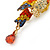 Small Multicoloured Austrian Crystal Parrot Bird Brooch In Gold Plating - 55mm L - view 4