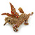 Stunning Austrian Crystal 'Unicorn' Brooch In Antique Gold Tone - 50mm Length - view 7