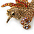 Stunning Austrian Crystal 'Unicorn' Brooch In Antique Gold Tone - 50mm Length - view 2