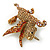 Stunning Austrian Crystal 'Unicorn' Brooch In Antique Gold Tone - 50mm Length - view 4