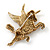Stunning Austrian Crystal 'Unicorn' Brooch In Antique Gold Tone - 50mm Length - view 5