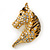 Austrian Crystal Horse Head Brooch/ Pendant In Gold Plating - 35mm Across - view 5