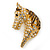 Austrian Crystal Horse Head Brooch/ Pendant In Gold Plating - 35mm Across - view 3