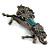 Hematite Coloured Swarovski Crystal Horse Brooch In Gun Metal Tone - 70mm Across - view 6