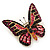 Small Black, Fuchsia, Pink, Orange Austrian Crystal Butterfly Brooch In Gold Plating - 30mm Length - view 2