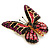 Small Black, Fuchsia, Pink, Orange Austrian Crystal Butterfly Brooch In Gold Plating - 30mm Length - view 3