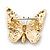 Small Black, Fuchsia, Pink, Orange Austrian Crystal Butterfly Brooch In Gold Plating - 30mm Length - view 4