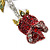 Small Red, Green Austrian Crystal 'Rose' Brooch In Rhodium Plating - 43mm L - view 3