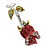 Small Red, Green Austrian Crystal 'Rose' Brooch In Rhodium Plating - 43mm L - view 4