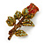 Red/ Green Swarovski Crystal 'Rose' Brooch In Antique Gold Tone - 43mm Across - view 3