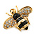 Small Black Enamel Crystal 'Bee' Brooch In Gold Plating - 35mm Across - view 2