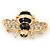 Small Black Enamel Crystal 'Bee' Brooch In Gold Plating - 35mm Across - view 3