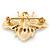 Small Black Enamel Crystal 'Bee' Brooch In Gold Plating - 35mm Across - view 4
