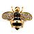 Small Black Enamel Crystal 'Bee' Brooch In Gold Plating - 35mm Across
