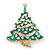 Vintage Inspired Holly Jolly Clear Crystal Christmas Tree Brooch In Gold Plating - 55mm Length - view 5