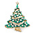 Vintage Inspired Holly Jolly Clear Crystal Christmas Tree Brooch In Gold Plating - 55mm Length - view 6