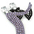 'Dancing Couple' Austrian Crystal Brooch In Gun Metal Finish (Black & Lilac Colour) - 105mm Length - view 2