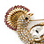 Gold Plated Clear, Pink Austrian Crystal Paradise Bird Brooch - 75mm Length - view 2