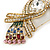 Gold Plated Clear, Pink Austrian Crystal Paradise Bird Brooch - 75mm Length - view 3