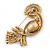 Gold Plated Clear, Pink Austrian Crystal Paradise Bird Brooch - 75mm Length - view 4