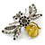 Art Deco Bumble-Bee Dim Grey Crytal Brooch In Silver Tone - 55mm Across - view 2