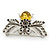 Art Deco Bumble-Bee Dim Grey Crytal Brooch In Silver Tone - 55mm Across - view 3