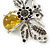 Art Deco Bumble-Bee Dim Grey Crytal Brooch In Silver Tone - 55mm Across - view 4