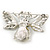 Art Deco Bumble-Bee Dim Grey Crytal Brooch In Silver Tone - 55mm Across - view 5
