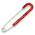 Classic Large Red Austrian Crystal Safety Pin Brooch In Rhodium Plating - 75mm Length - view 2