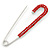 Classic Large Red Austrian Crystal Safety Pin Brooch In Rhodium Plating - 75mm Length - view 4