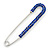 Classic Sapphire Blue Austrian Crystal Safety Pin Brooch In Rhodium Plating - 75mm Length