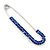 Classic Sapphire Blue Austrian Crystal Safety Pin Brooch In Rhodium Plating - 75mm Length - view 2