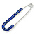 Classic Sapphire Blue Austrian Crystal Safety Pin Brooch In Rhodium Plating - 75mm Length - view 3