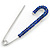 Classic Sapphire Blue Austrian Crystal Safety Pin Brooch In Rhodium Plating - 75mm Length - view 5