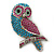 Teal, Magenta, Light Green Austrian Crystal 'Wise Owl'  Brooch/ Pendant In Silver Tone - 70mm Length