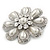 Bridal Rhodium Plated White Glass Pearl, Clear Crystals 'Daisy' Brooch - 50mm Diameter - view 3