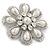 Bridal Rhodium Plated White Glass Pearl, Clear Crystals 'Daisy' Brooch - 50mm Diameter - view 2
