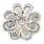 Bridal Rhodium Plated White Glass Pearl, Clear Crystals 'Daisy' Brooch - 50mm Diameter - view 4